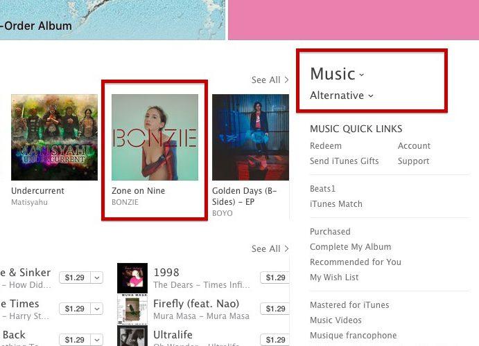 zone on nine on itunes top alternative chart